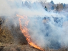 Friday, April 26, 2013NEWS PHOTO EMMA BENNETTFirefighters tackle a grass fire on the hillside between Kipling Street S.E. and College Drive S.E. Friday evening. Wind gusts swept the fire towards houses in Upland Drive.